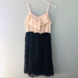 🌸 Xhilaration | ivory and black lace midi dress